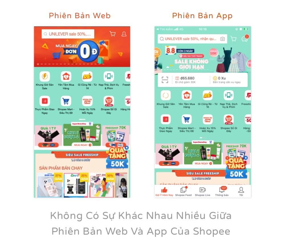 Không có sự khác nhau nhiều giữa phiên bản web và app của Shopee