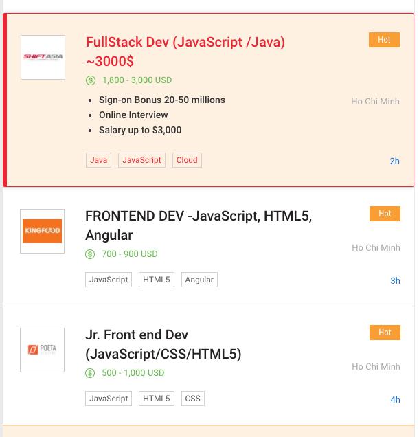 mức lương của lập trình viên JavaScript dao động từ 500$ đến 3000$ khi tìm kiếm trên ITViệc.