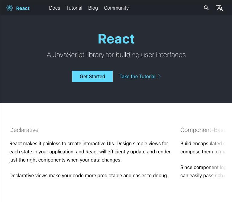 trang web của React